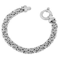 Argento Italia Rhodium-plated Sterling Silver Italian Byzantine Bracelet