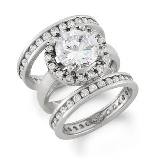 Gioelli Sterling Silver Cubic Zirconia Round Bridal Ring Set