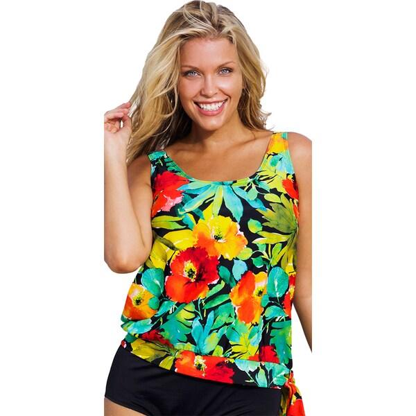 Shop Beach Belle Botany Bay Plus Size Blouson Tankini Top Free