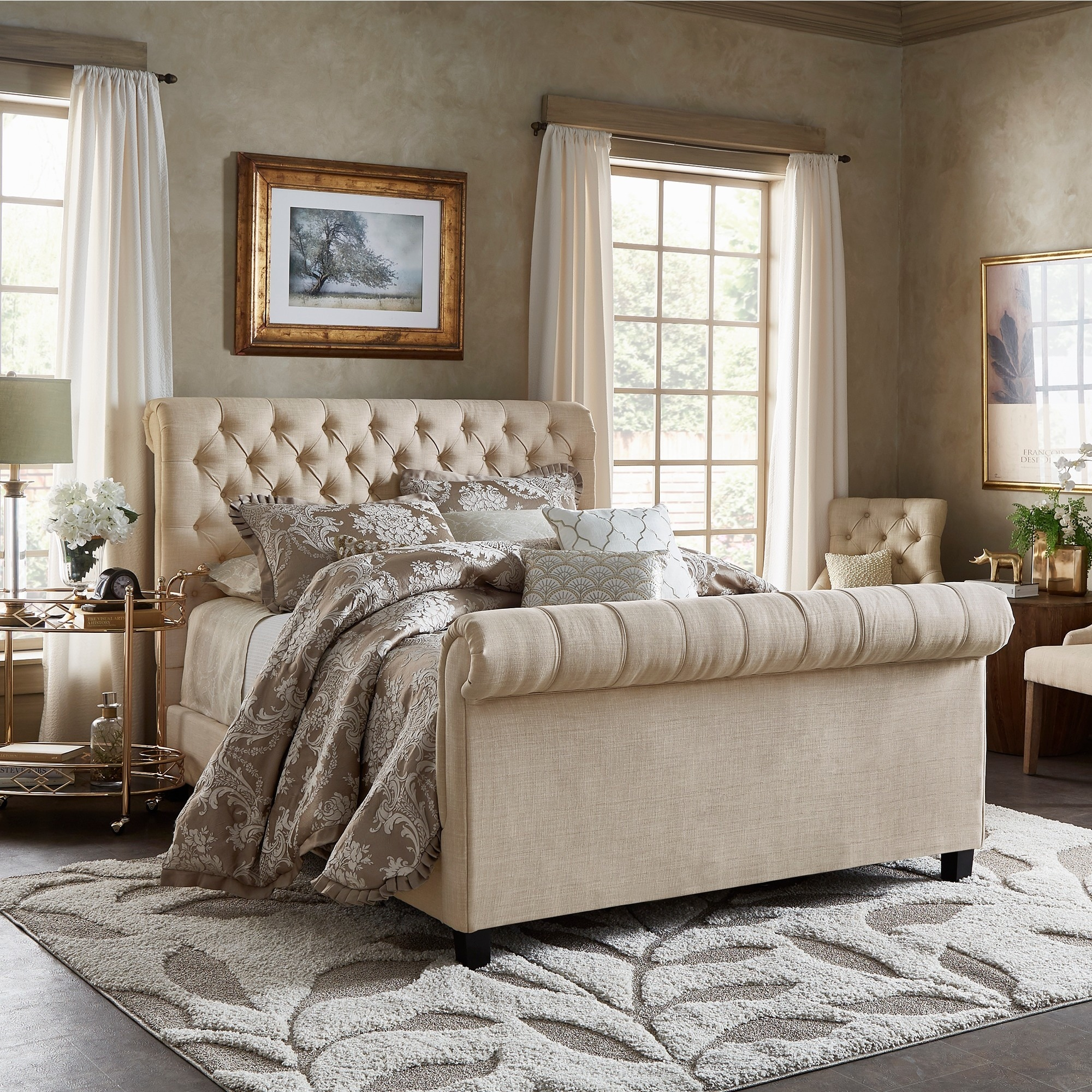 Knightsbridge Beige Linen Rolled Top Tufted Platform Bed With Footboard By Inspire Q Artisan Overstock 9827135