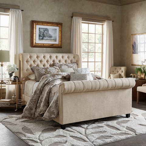 Knightsbridge Beige Linen Rolled Top Tufted Platform Bed with Footboard by iNSPIRE Q Artisan