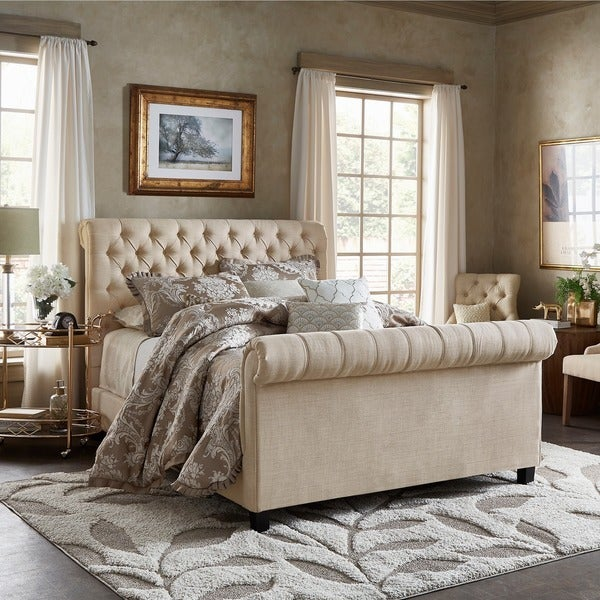 Shop Knightsbridge Beige Linen Rolled Top Tufted