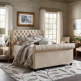 Knightsbridge Beige Linen Rolled Top Tufted Chesterfield Bed with Footboard by iNSPIRE Q Artisan