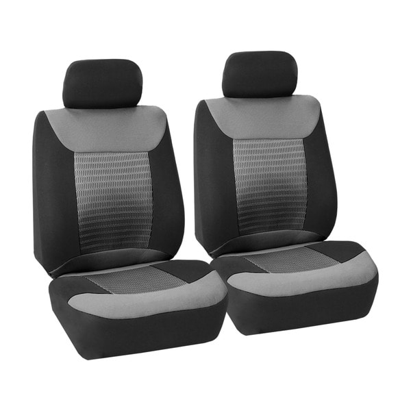 FH Group Grey And Black Premium Fabric Front Bucket Seat Covers Set Of 2