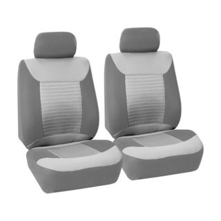 FH Group Grey and Black Premium Fabric Front Bucket Seat Covers (Set of 2)