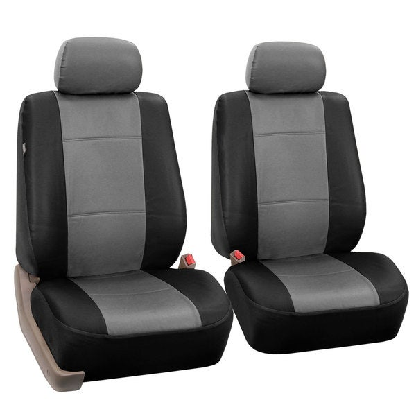 FH Group Grey And Black PU Leather Universal Fit Front Bucket Seat Covers Set Of