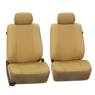 FH Group Beige Deluxe Leatherette Front Bucket Seat Covers (Set of 2)