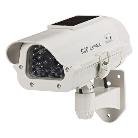 Solar-powered Indoor/ Outdoor Beige LED Dummy Camera