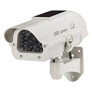 Solar-powered Indoor/ Outdoor Beige LED Dummy Camera