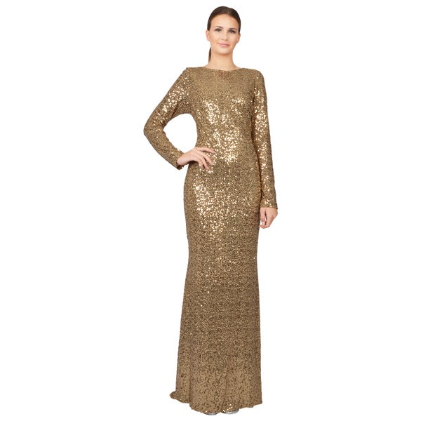 9924a788306b Shop Badgley Mischka Gold Sequined Long Sleeve Cowl Back Evening Gown Dress  - Free Shipping Today - Overstock - 9827312