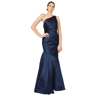 ML Monique Lhuillier Blue Faille One Shoulder Beaded Mermaid Gown Dress