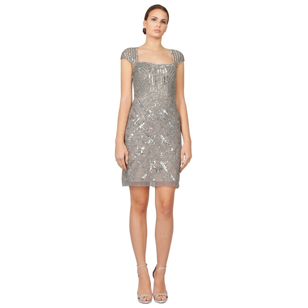 1cf70e45 Adrianna Papell Platinum Illusion Cap Sleeve Beaded Sequin Cocktail Dress.  Click to Zoom
