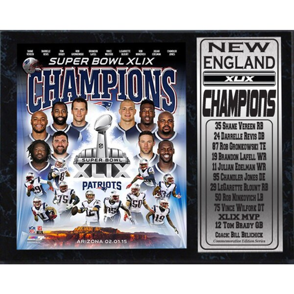 New England Patriots Super Bowl XLIX Champions 12-inch x 15-inch Photo Plaque