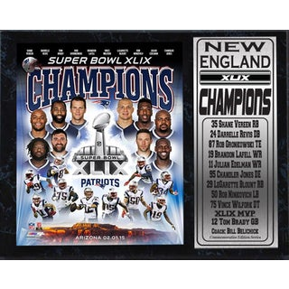 New England Patriots Super Bowl XLIX Champions 12-inch x 15-inch Photo Plaque