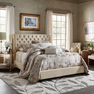 Knightsbridge Beige Linen Rolled Top Tufted Chesterfield Bed by iNSPIRE Q Artisan
