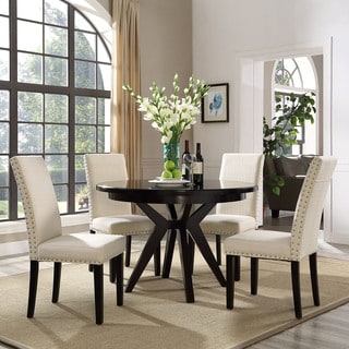 Upholstered High-back Dining Chair with Nailhead Trim