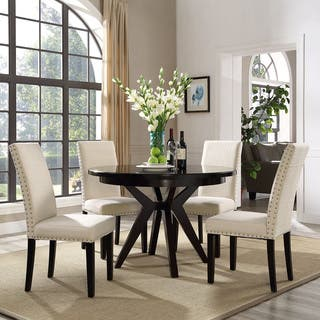 Parcel Upholstered Grey and Beige Dining Chair Modern Room  Kitchen Chairs For Less Overstock com