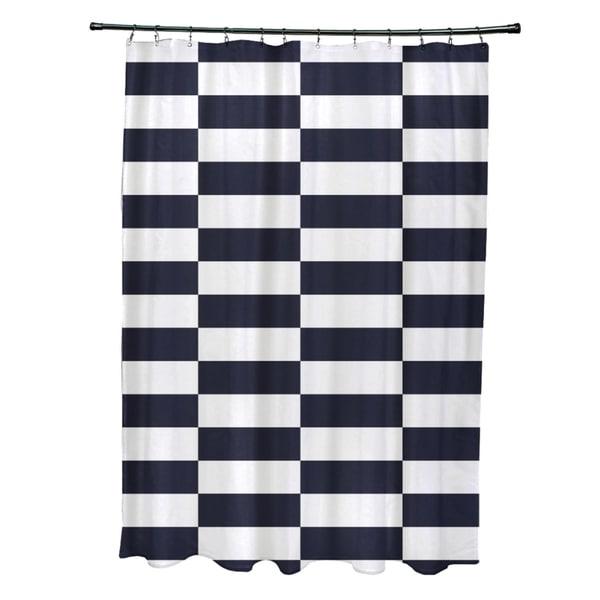 Striped Checkerboard Pattern Shower Curtain