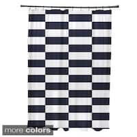 Striped Checkerboard Pattern Shower Curtain