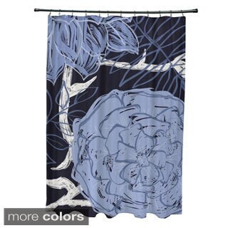 Large Floral Pattern Shower Curtain