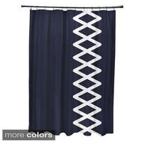 Side Diamond Stripe Geometric Pattern Shower Curtain