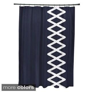 Side Diamond Stripe Geometric Pattern Shower Curtain