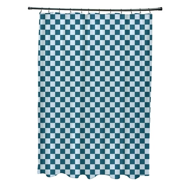 Small Check Geometric Pattern Shower Curtain