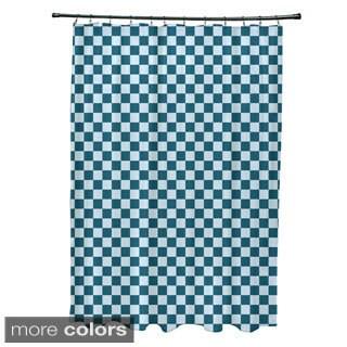 Small Check Geometric Pattern Shower Curtain