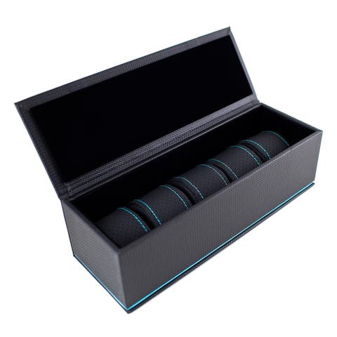 Caddy Bay Collection Black/ Blue Carbon Fiber 5-slot Watch Case with High Clearance for Large Watches