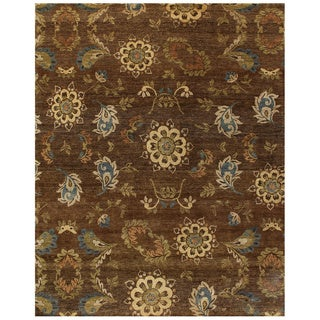 Grand Bazaar Hand-knotted Wool Pile Amzad Rug in Brown (4' x 6') - 4' x 6'