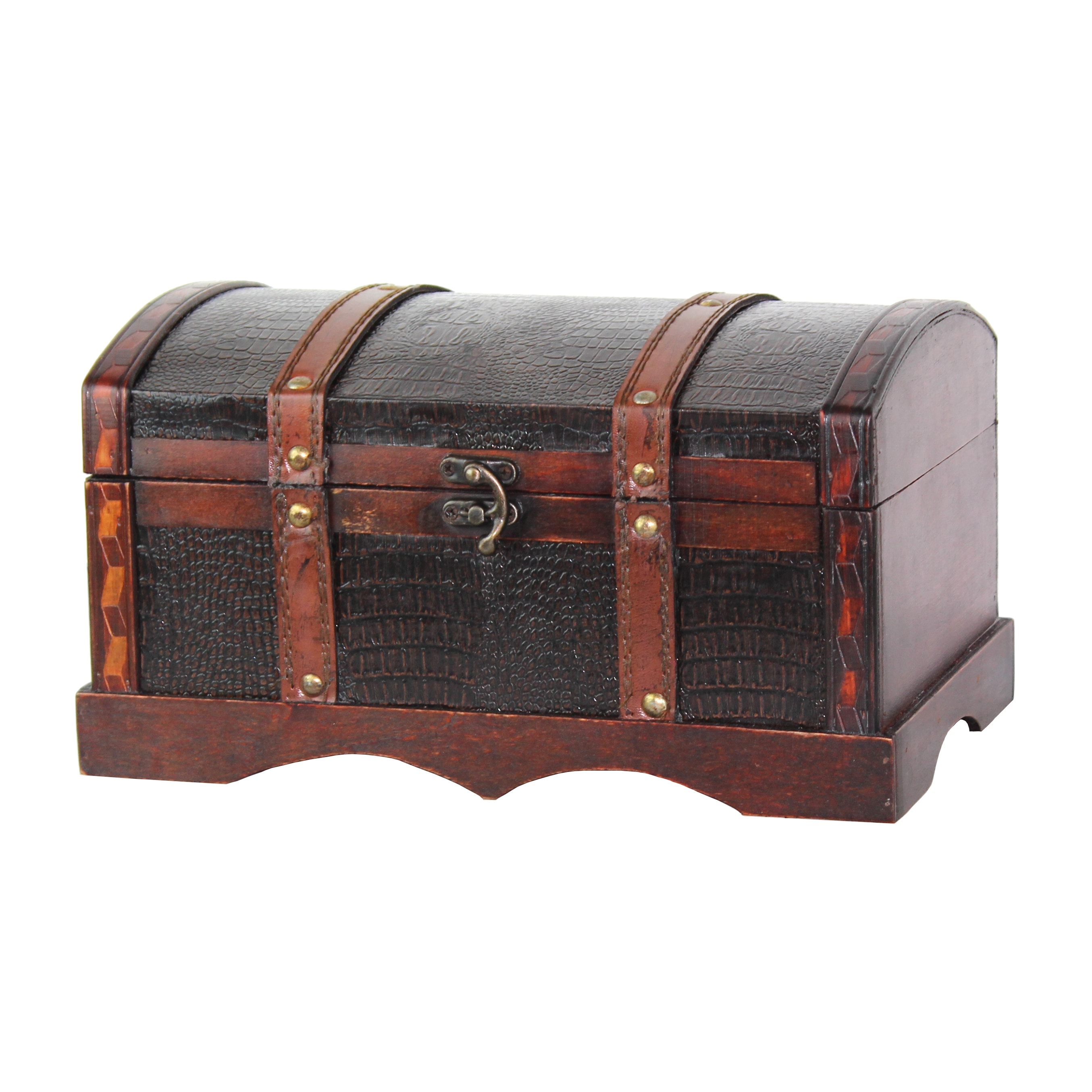 Picture of: Shop Faux Leather And Wood Decorative Chest Cherry Overstock 9827746