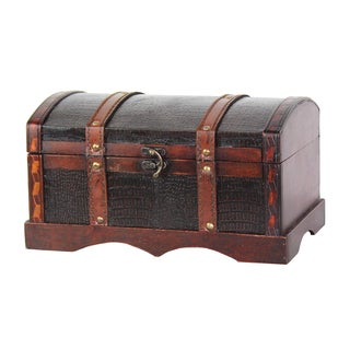 Faux Leather and Wood Decorative Chest - cherry