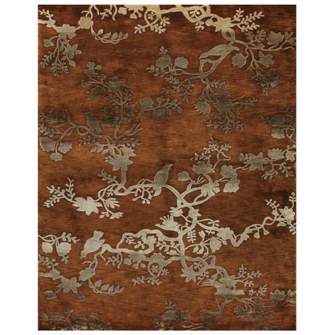 """Grand Bazaar Hand-knotted 100-percent Wool Pile Bodhi Rug in Rust 3'-6"""" x 5'-6"""" - 3'6"""" x 5'6"""""""