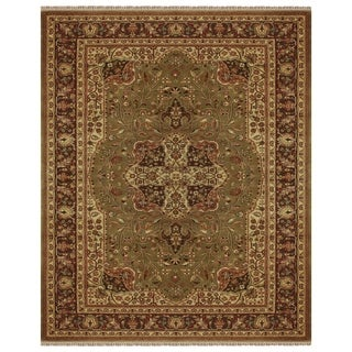 Grand Bazaar Hand-knotted 100-percent Wool Pile Bradford Rug in Sage/Brown 4' x 6'