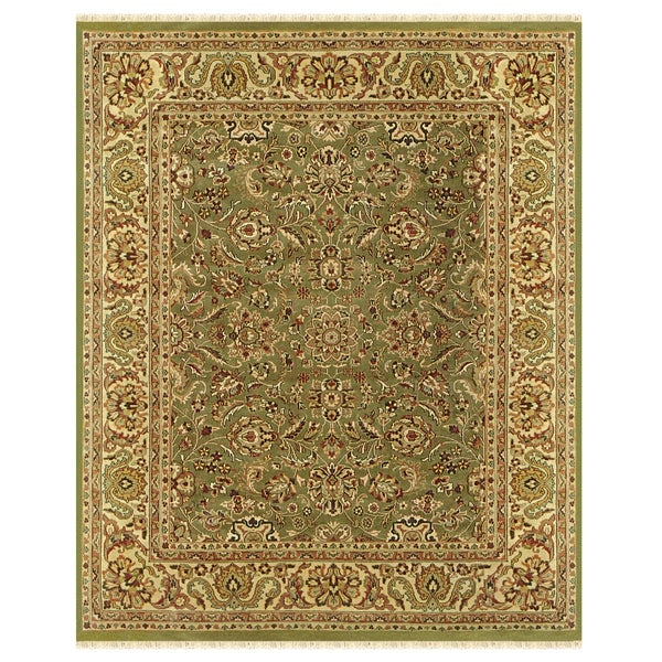 Grand Bazaar Hand-knotted 100-percent Wool Pile Edmonton Rug in Light Green/Cream - 4' x 6'