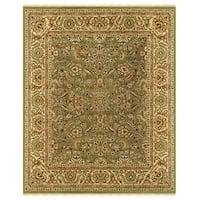 Grand Bazaar Hand-knotted 100-percent Wool Pile Edmonton Area Rug in Light Green/ Cream (4' x 6')