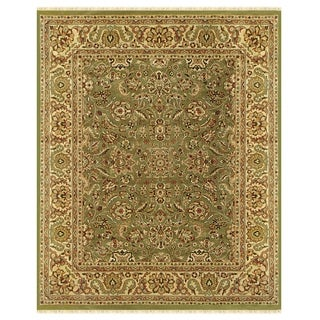Grand Bazaar Hand-knotted 100-percent Wool Pile Edmonton Area Rug in Light Green/ Cream (4' x 6')