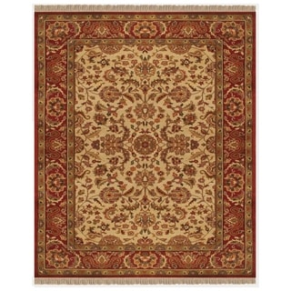 Grand Bazaar Hand-knotted 100-percent Wool Pile Edmonton Area Rug in Ivory/ Red (4' x 6')
