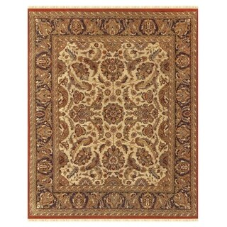 Grand Bazaar Hand-knotted 100-percent Wool Pile Edmonton Rug in Cream/Charcoal 4' x 6' - 4' x 6'