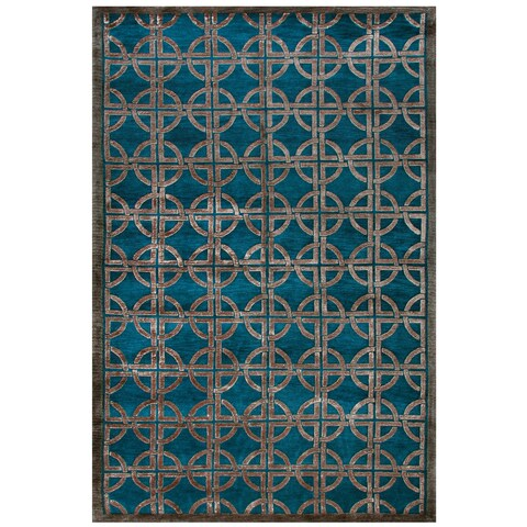 "Grand Bazaar Hand-knotted Wool & Viscose Dim Sum Rug in Azure 3'-6"" x 5'-6"" - 3'6"" x 5'6"""