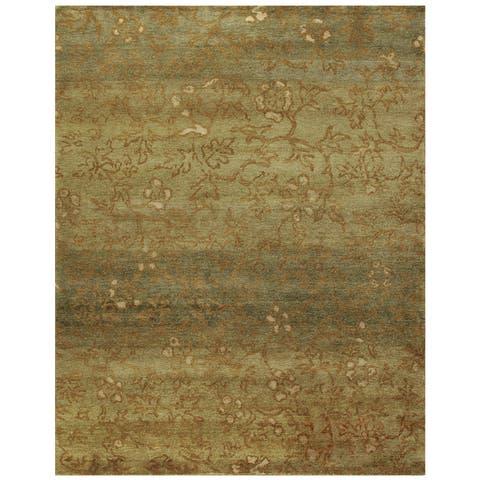 Grand Bazaar Hand-knotted Wool Pile Verdigris Rug in Green/ Multi (4' x 6') - 4' x 6'