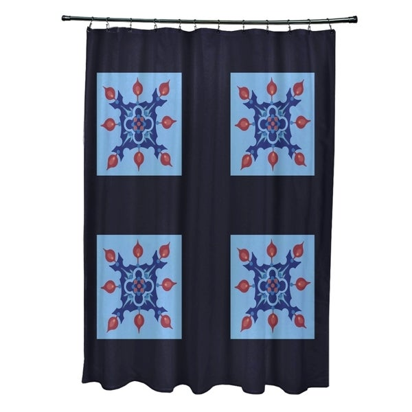 Quad-floral Geometric Pattern Shower Curtain
