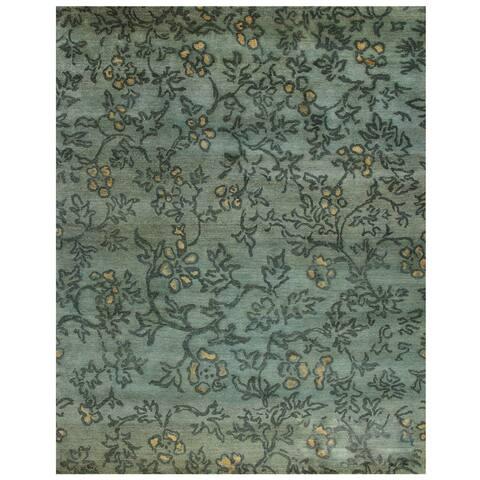 Grand Bazaar Hand-knotted Wool Pile Verdigris Rug in Blue/ Multi (4' x 6') - 4' x 6'
