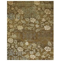 Grand Bazaar Hand-knotted Wool & Art Silk Qing Rug in Ochre - 4' x 6'