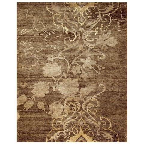 Grand Bazaar Hand-knotted Wool & Art Silk Qing Rug in Brown - 4' x 6'