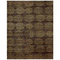 Grand Bazaar Hand-knotted Wool & Art Silk Qing Rug in Brown 4' x 6' - 4' x 6'