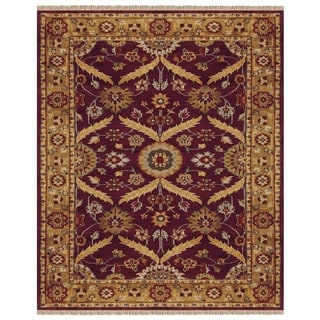 Grand Bazaar Hand-knotted 100-percent Wool Pile Pietra Rug in Plum/Gold 4' x 6' - 4' x 6'