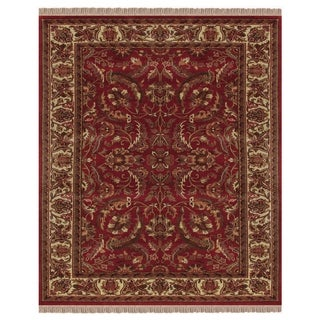 Grand Bazaar Hand-knotted 100-percent Wool Pile Edmonton Area Rug in Red/ Ivory (4' x 6')