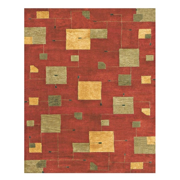 "Grand Bazaar Tufted 100-percent Wool Pile Tangent Rug in Red 3'-6"" x 5'-6"" - 3'6"" x 5'6"""