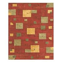 "Grand Bazaar Tufted 100-percent Wool Pile Tangent Rug in Red 3'-6"" x 5'-6"" - 3'-6"" x 5'-6"""